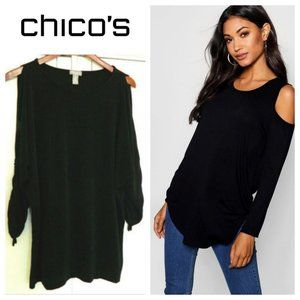 Chicos Travelers 3 (XL 1X) Cold Shoulder Shirt Top